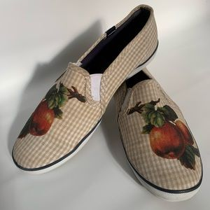 Keds orange print with check slip on shoes